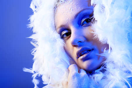 Art portrait of a snow female model in fur.  Fashion, beauty. Stock Photo - 8587131