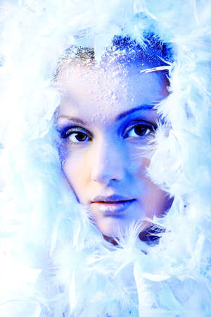 Art portrait of a snow female model in fur.  Fashion, beauty. Stock Photo - 8612154