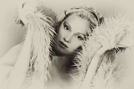 Art portrait of a snow female model in fur.  Fashion, beauty. photo