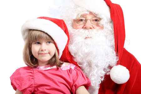 Christmas theme: Santa Claus and little girl.   photo