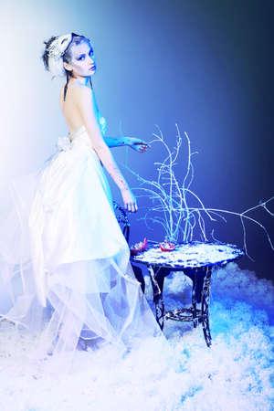 snowy background: Retrato de arte de un hermoso modelo femenino sobre fondo cubierto de nieve.  Moda, belleza.