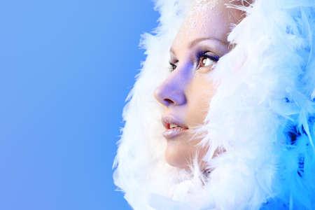 resfriado: Retrato de un modelo mujer de nieve en pieles de arte.  Moda, belleza.