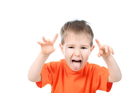 Portrait of a funny little boy making faces. Isolated over white background. Stock Photo - 8751078