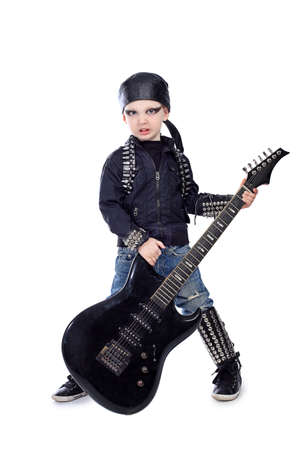 hardrock: Shot of a little boy playing rock music with electric guitar. Isolated over white background.