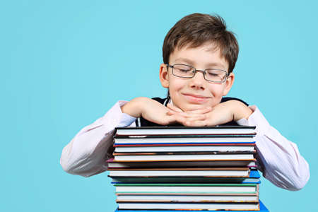Educational theme: portrait of a schoolboy with books. Over grey background. Stock Photo - 8835226