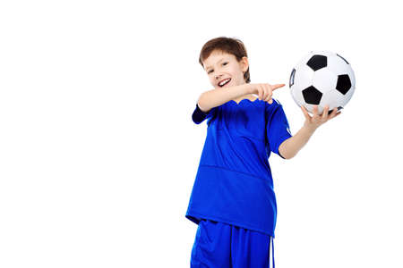 Portrait of a boy with a ball. Isolated over white background. Stock Photo - 8835225