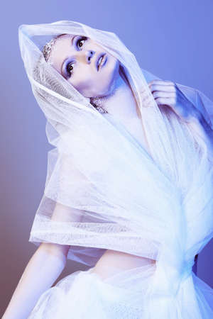 Art portrait of a beautiful woman in veil. Fashion, beauty. photo