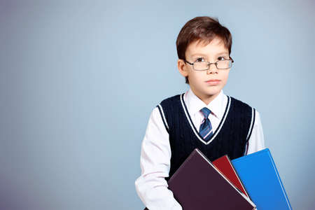Educational theme: portrait of a schoolboy with books. Studio shot over grey background. Stock Photo - 8935393