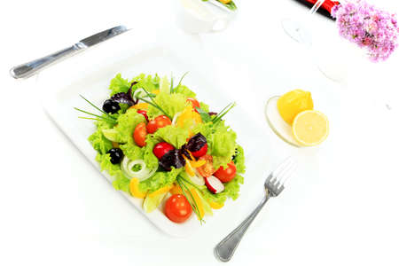 Food theme: fresh vegetable salad, side dishes. photo