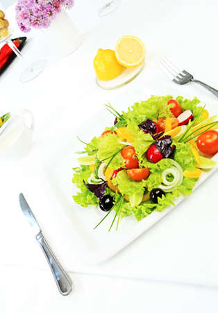 Food theme: fresh vegetable salad, side dishes. photo