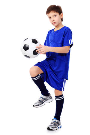 kids  soccer: Portrait of a boy with a ball. Isolated over white background. Stock Photo