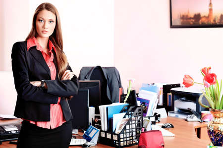 Beautiful business woman is working at the office. Stock Photo - 9184197
