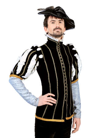 costume ball: Portrait of a handsome man grandee in 16th century costume. Isolated over white background.