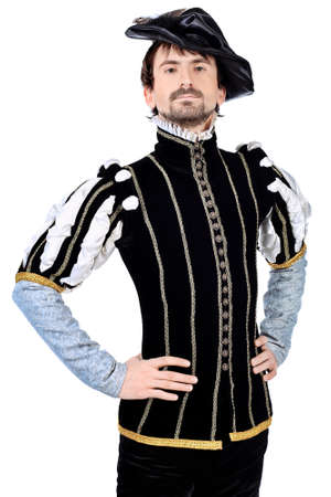 nobleman: Portrait of a handsome man grandee in 16th century costume. Isolated over white background.