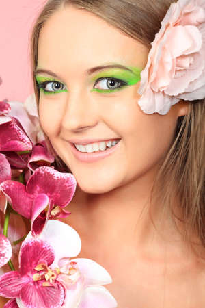 Portrait of a beautiful young woman with spring make-up. Beauty, fashion. photo