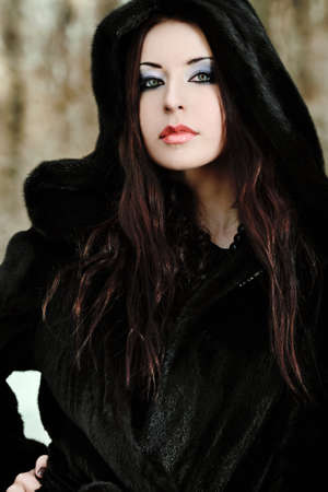 Shot of a gothic woman in a winter park. Fashion. Stock Photo - 9352041