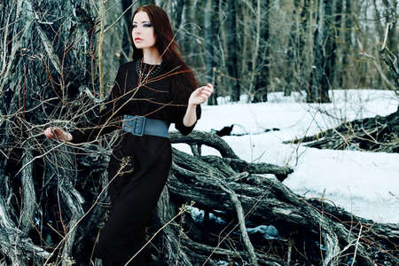 Shot of a gothic woman in a winter park. Fashion. Stock Photo - 9352130