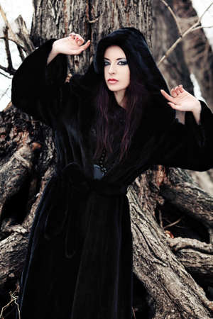 fur trees: Shot of a gothic woman in a winter park. Fashion. Stock Photo