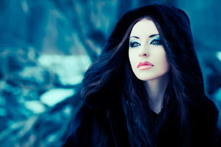 Shot of a gothic woman in a winter park. Fashion. Stock Photo - 9403598