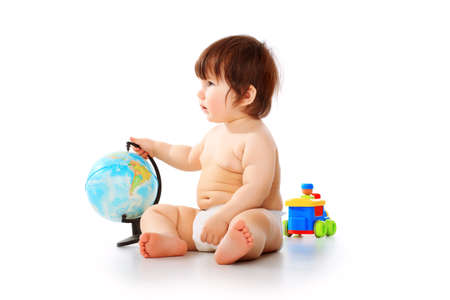 small world: Baby with the geographical globe isolated on a white background Stock Photo