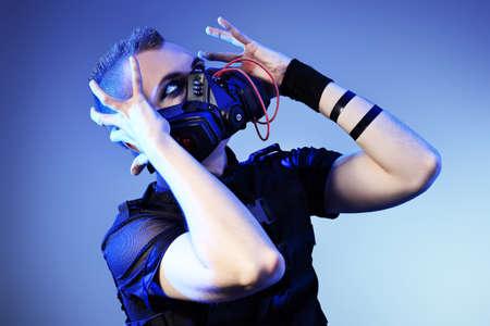 Shot of a conceptual man in a respirator.  Stock Photo - 9454344