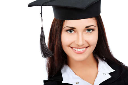 Educational theme: graduating student girl in an academic gown. Isolated over white background. Stock Photo - 9454476