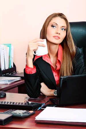 Beautiful business woman is working at the office. Stock Photo - 9454713