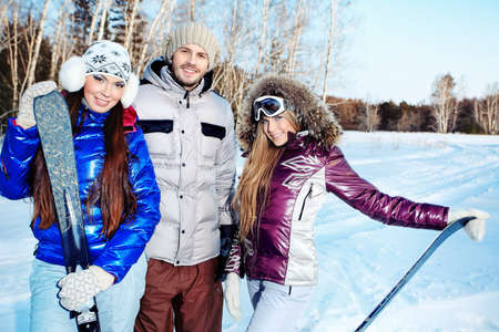 Group of young people having winter rest outdoor. Stock Photo - 9490429