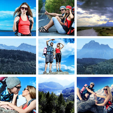 tourists stop: Collage with landscape and travel theme.