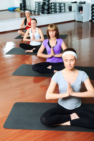 Group of young women in the gym centre. Yoga. Stock Photo - 9524423