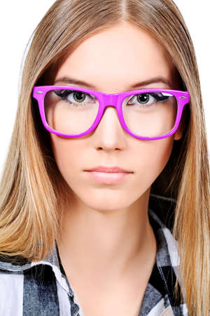 Portrait of a girl teenager in a big pink glasses. Isolated over white background. Stock Photo - 9524909