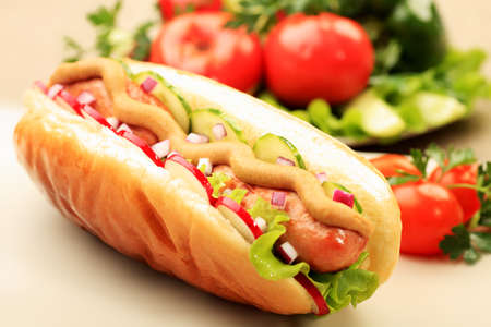 fast meal: Close up of hot dog. Fast food. Isolated over white background.