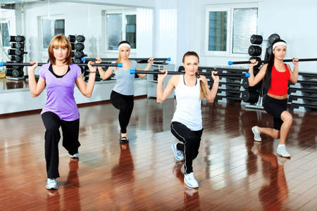 aerobics class: Group of young women in the gym centre.
