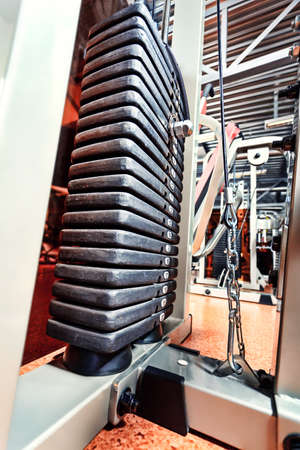 Room with gym equipment in the sport club photo