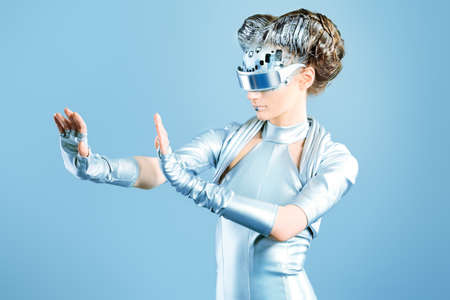 technology metaphor: Shot of a futuristic young woman.