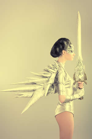 robot girl: Shot of a futuristic young woman holding a sword.  Stock Photo