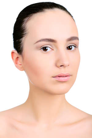 Portrait of beautiful spa girl. Isolated over white background. Stock Photo - 9773491