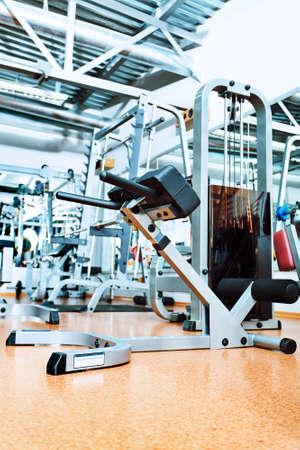 Gym centre interior. Equipment, gym apparatus. photo