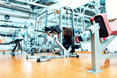 gym room: Gym centre interior. Equipment, gym apparatus. Stock Photo