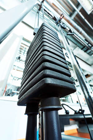Gym centre interior. Equipment, gym apparatus. Stock Photo - 9774865