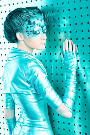 Shot of a futuristic young woman.  photo