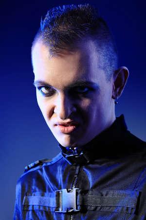 skinhead: Shot of a gloomy skinhead man.