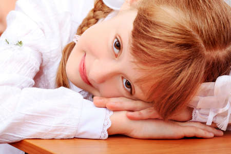 Portrait of a little schoolgirl in a classroom. photo