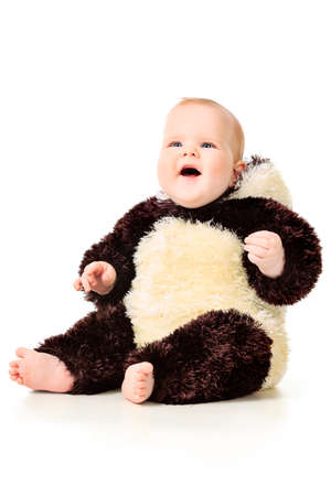Beautiful baby in panda costume. Isolated over white. Stock Photo - 9785038