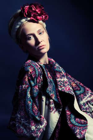 Fashion shot of a beautiful young woman.  photo