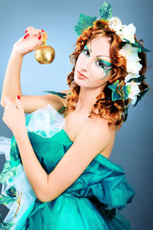 Portrait of a dreamy fairy girl.  photo