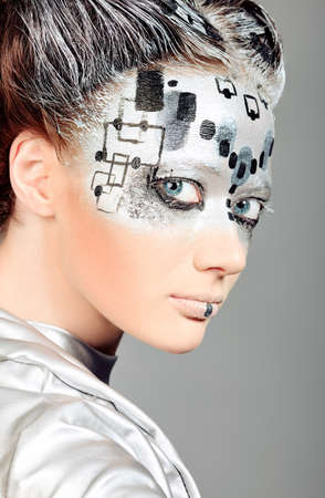 robot girl: Portrait of a futuristic young woman.