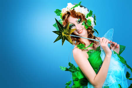Portrait of a dreamy fairy girl. Stock Photo - 9837258