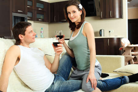 Happy married couple having a rest at home. Stock Photo - 9961902
