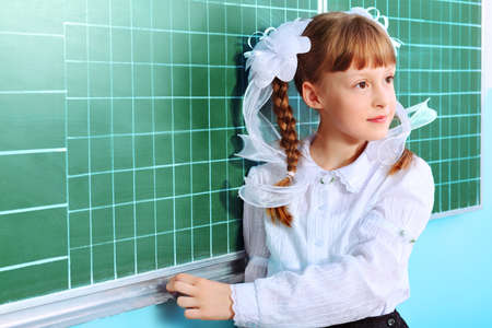 Portrait of a pretty schoolgirl in a classroom. photo